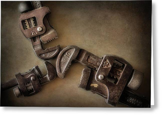 Vintage Pipe Wrenches Greeting Card