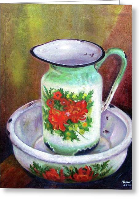 Vintage Pitcher And Wash Bowl Set Greeting Card