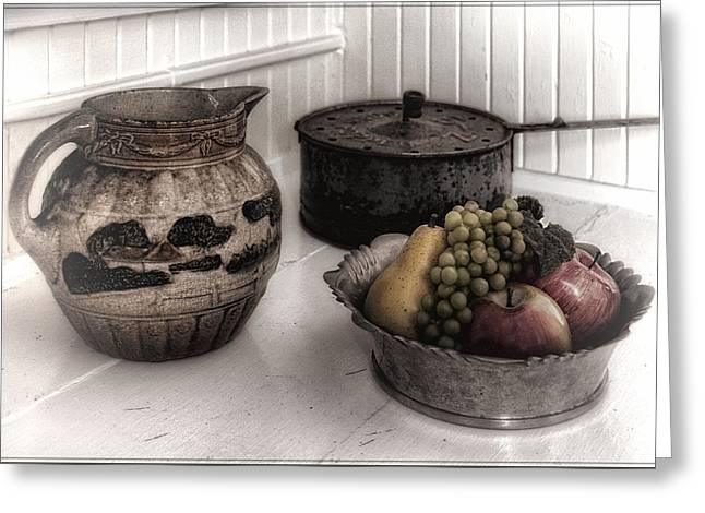Vintage Pitcher, Pan, And Fruit Bowl Greeting Card by Mitch Spence