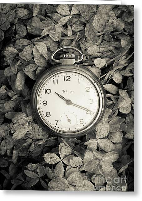 Vintage Pocket Watch Over Flowers Greeting Card by Edward Fielding