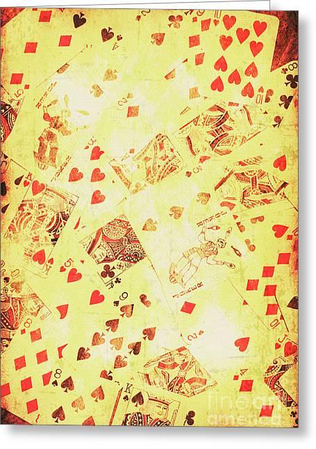 Vintage Poker Background Greeting Card