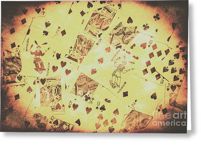 Vintage Poker Card Background Greeting Card by Jorgo Photography - Wall Art Gallery