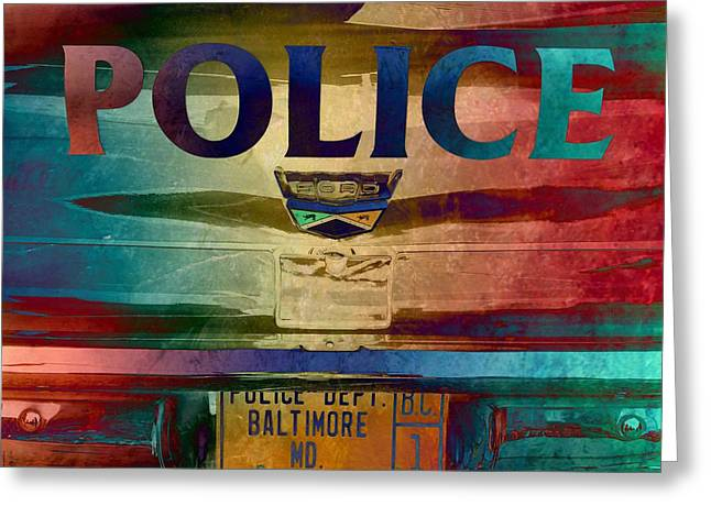 Vintage Police Department Car - Baltimore, Maryland Greeting Card