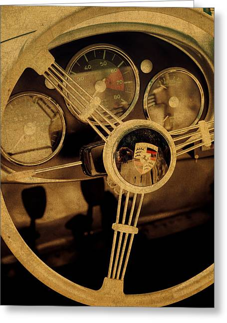 Vintage Porsche Steering Wheel Greeting Card