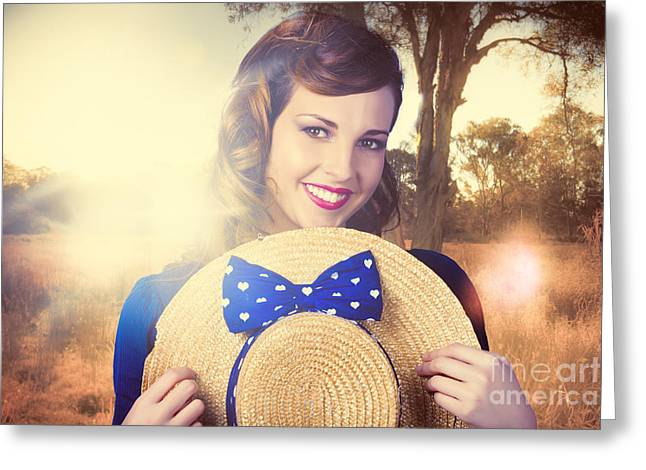 Vintage Portrait Of A Country Pinup Girl Greeting Card by Jorgo Photography - Wall Art Gallery