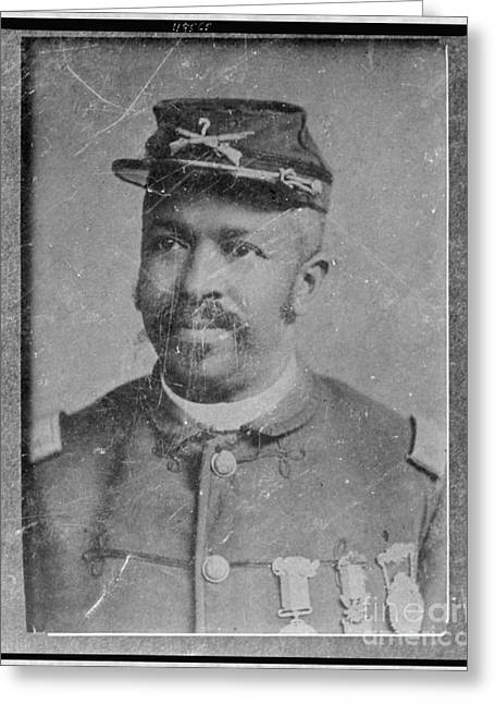Vintage Portrait Of Colored Us Soldier Wearing Medals Of Heroism And Bravery Greeting Card