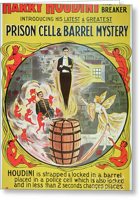 Vintage Poster Advertising A New Escape Act By Houdini  Greeting Card