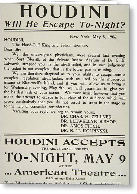Vintage Poster Advertising A Performance By Houdini At The American Theatre, May 1906  Greeting Card