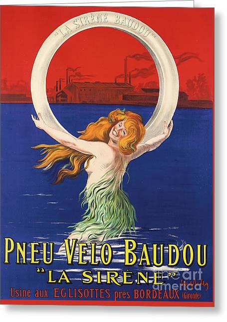 Vintage Poster Advertising La Sirene Bicycle Tires Greeting Card