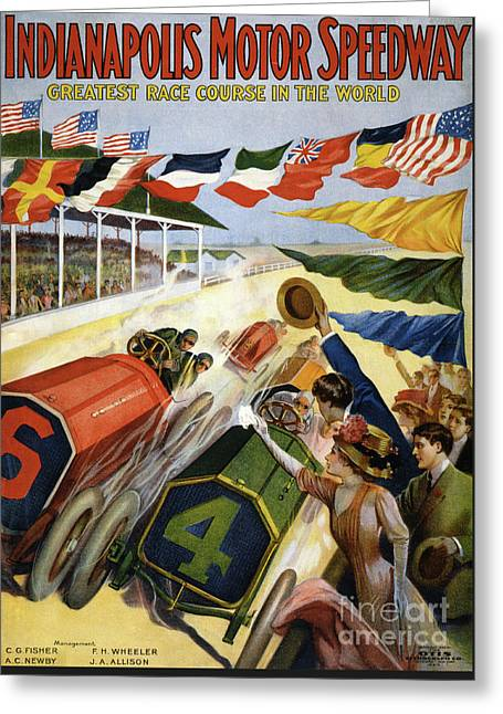 Vintage Poster Advertising The Indianapolis Motor Speedway Greeting Card by American School