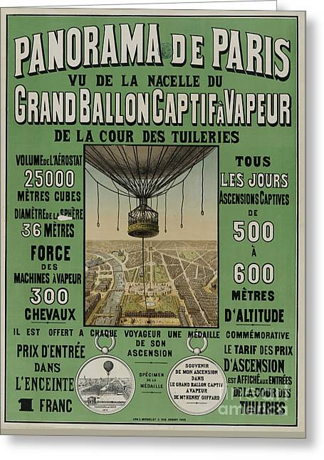 Greeting Card featuring the photograph Vintage Poster Of Great Balloon View Of Paris 1878 by John Stephens
