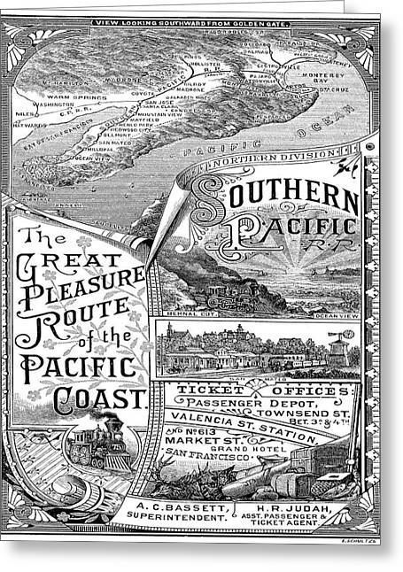 Vintage Poster - Pacific Coast Greeting Card by Vintage Images