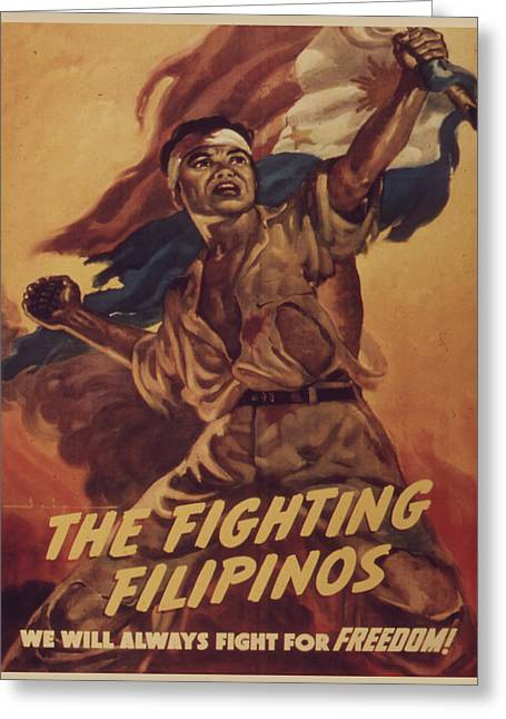 Vintage Poster - The Fighting Filipinos Greeting Card by Vintage Images