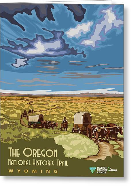Vintage Poster - The Oregon Trail Greeting Card by Vintage Images