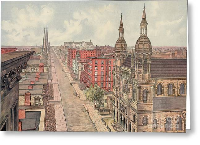 Vintage Print Of Fifth Avenue From 42nd Street In New York City, Looking North, 1904 Greeting Card