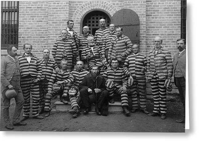 Vintage Prisoners In Striped Uniforms - 1889 Greeting Card by War Is Hell Store