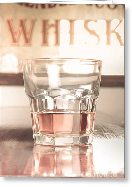 Vintage Pub Whisky On Old Wooden Counter Greeting Card by Jorgo Photography - Wall Art Gallery
