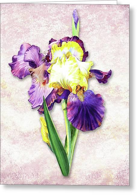 Greeting Card featuring the painting Vintage Purple Watercolor Iris by Irina Sztukowski