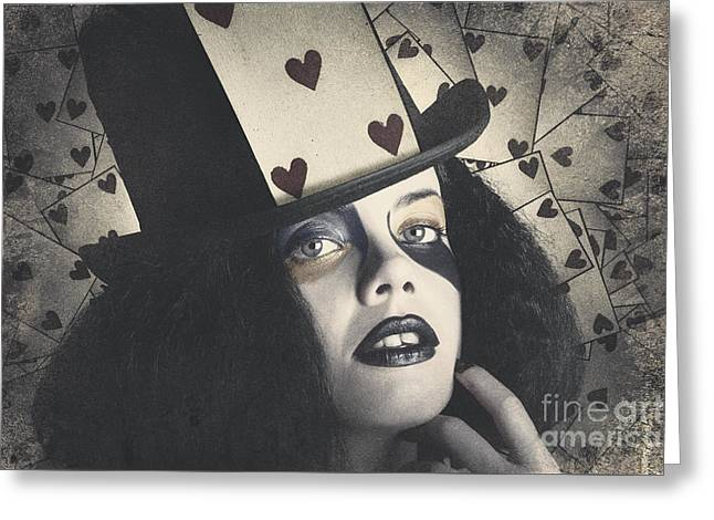 Vintage Queen Of Hearts Wearing Poker Card Greeting Card by Jorgo Photography - Wall Art Gallery