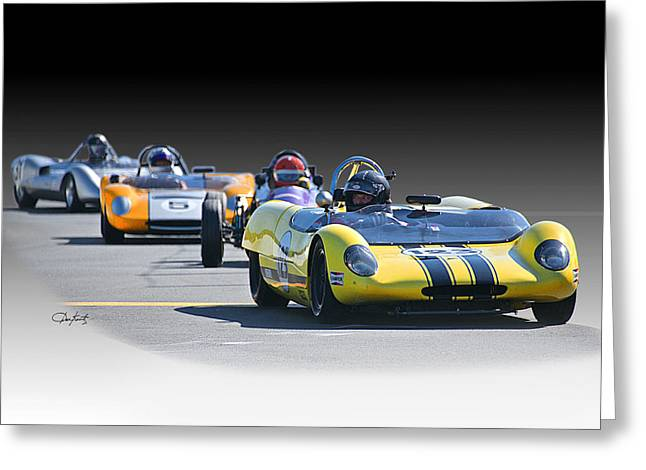 Vintage Racecar 'home Stretch' Greeting Card by Dave Koontz
