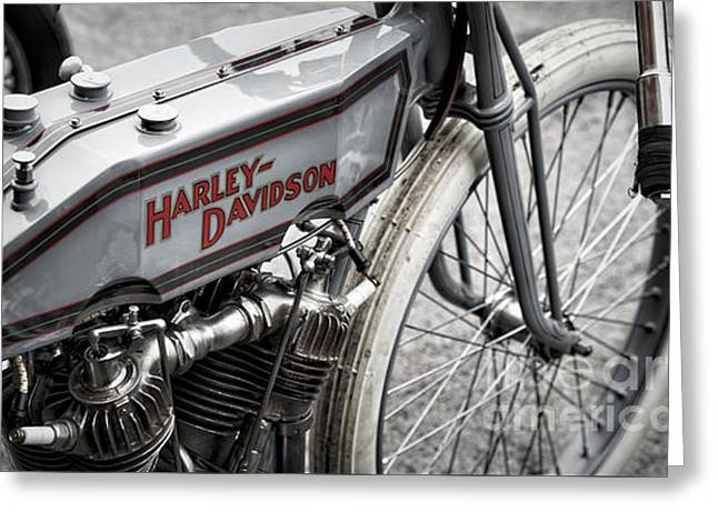 Vintage Racing Harley Greeting Card by Tim Gainey