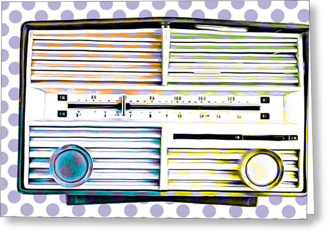Vintage Radio Purple Dots Mug Greeting Card