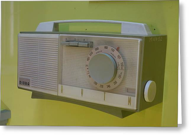 Vintage Radio With Lime Green Background Greeting Card