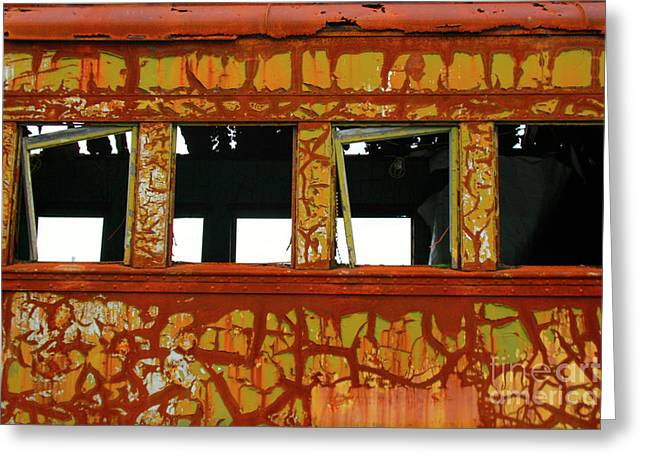 Vintage Railcar Greeting Card by Suzanne Lorenz