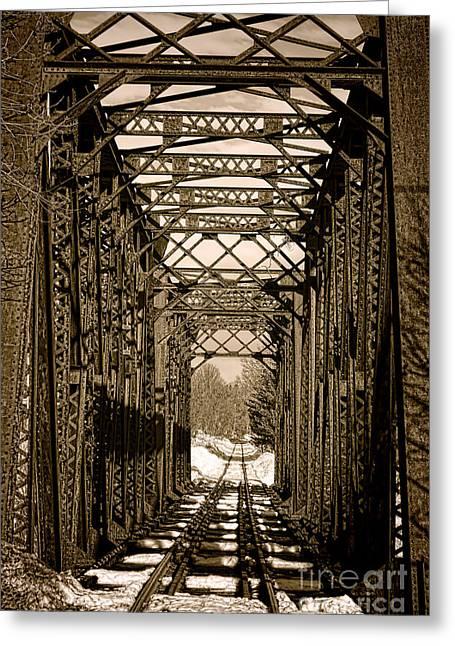 Vintage Railroad Bridge In Snow Greeting Card