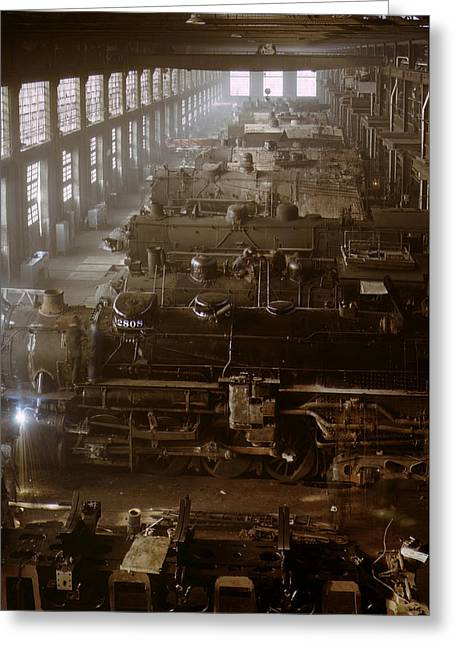 Vintage Railroad Locomotive Shop - 1942 Greeting Card by War Is Hell Store