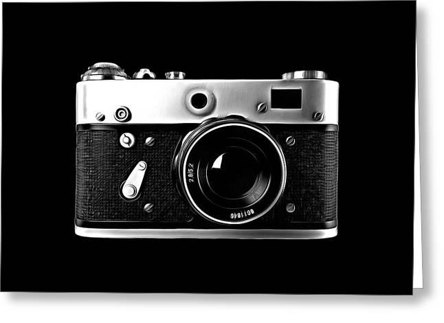 Greeting Card featuring the digital art Vintage Rangefinder Film Camera by Edward Fielding