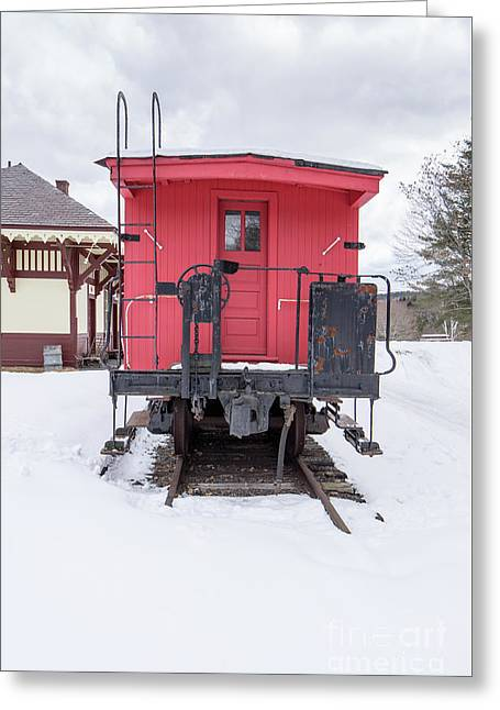 Vintage Red Caboose In The Snow Greeting Card