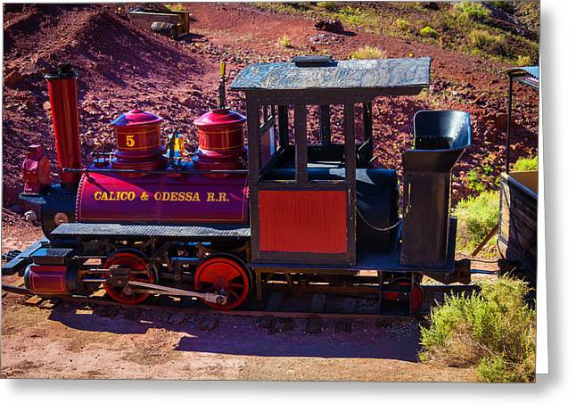 Vintage Red Calico Train Greeting Card