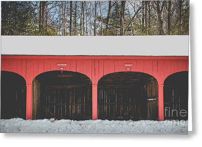 Vintage Red Carriage Barn Lyme Greeting Card by Edward Fielding