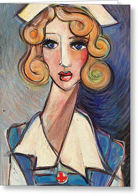 Greeting Card featuring the painting Vintage Red Cross Nurse by Laurie Maves ART