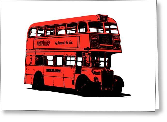 Vintage Red Double Decker London Bus Tee Greeting Card by Edward Fielding