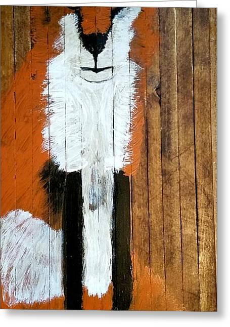 Vintage Red Fox Painting Greeting Card by Scott D Van Osdol