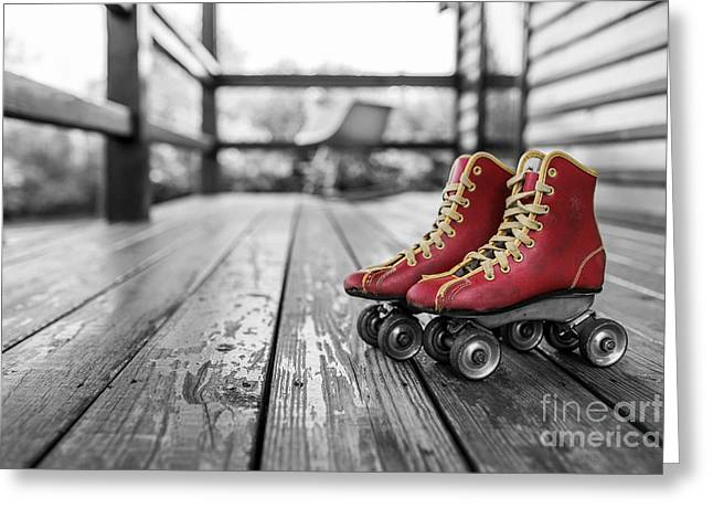 Vintage Red Roller Skates Greeting Card by Edward Fielding