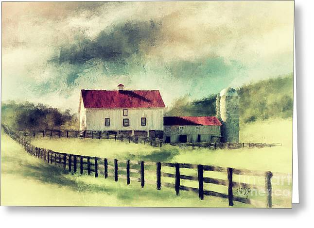 Vintage Red Roof Barn Greeting Card
