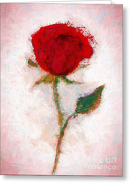 Vintage Red Rose  Greeting Card by Claire Bull