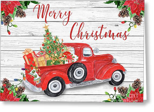 Vintage Red Truck Christmas-a Greeting Card