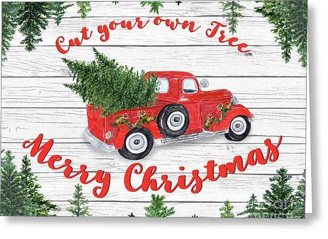 Vintage Red Truck Christmas-b Greeting Card
