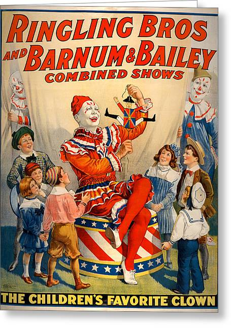 Vintage Ringling Brothers And Barnum And Bailey Combined Shows Cir Greeting Card by Mark Kiver