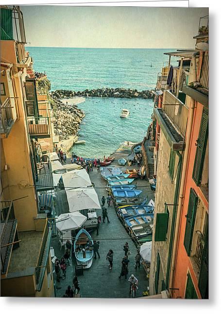 Vintage Riomaggiore Cinque Terre Italy Greeting Card by Joan Carroll