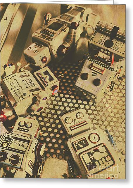 Vintage Robot Charging Zone Greeting Card by Jorgo Photography - Wall Art Gallery