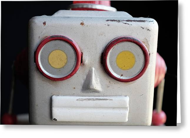 Vintage Robot Square Greeting Card