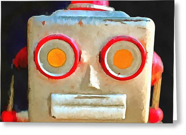 Vintage Robot Toy Square Pop Art Greeting Card by Edward Fielding