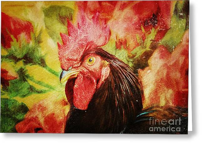 Vintage Rooster Print Greeting Card by Tina LeCour