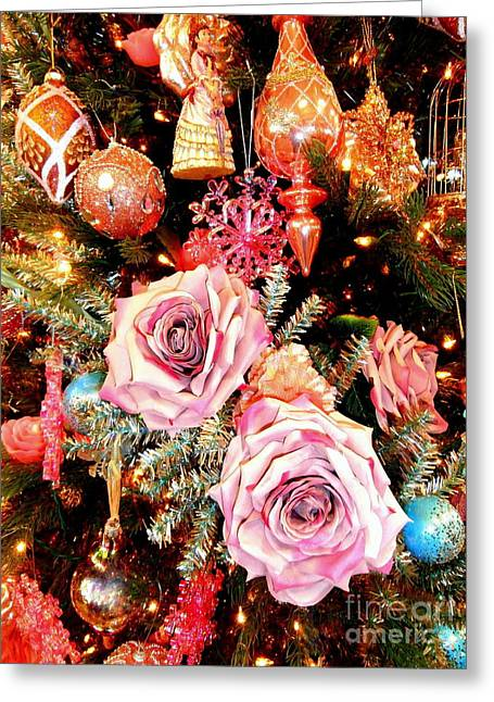 Vintage Rose Holiday Decorations Greeting Card