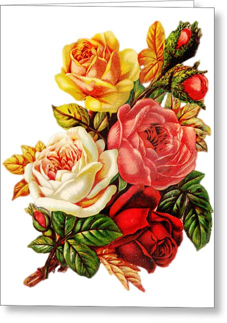Greeting Card featuring the digital art Vintage Rose I by Kim Kent